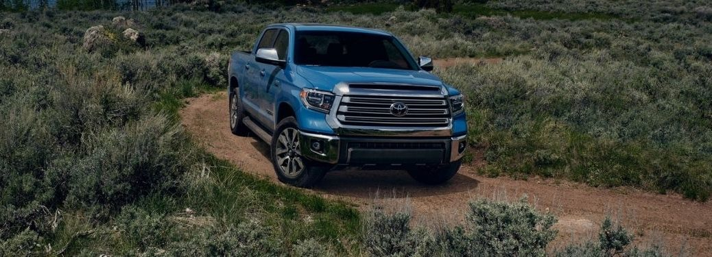 Blue 2021 Toyota Tundra on a Dirt Road