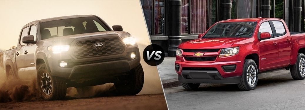Gray 2020 Toyota Tacoma on a Trail vs Red 2020 Chevy Colorado on a City Street