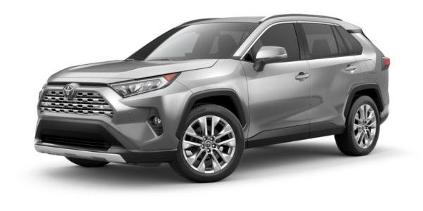 Silver Sky Metallic 2021 Toyota RAV4 on White Background