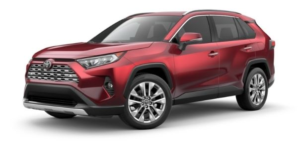 Ruby Flare Pearl 2021 Toyota RAV4 on White Background