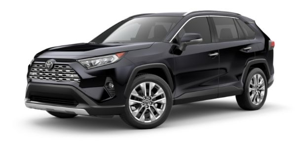 Midnight Black Metallic 2021 Toyota RAV4 on White Background