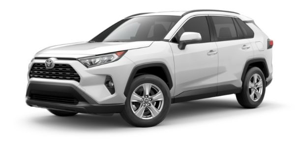 Super White 2021 Toyota RAV4 on White Background