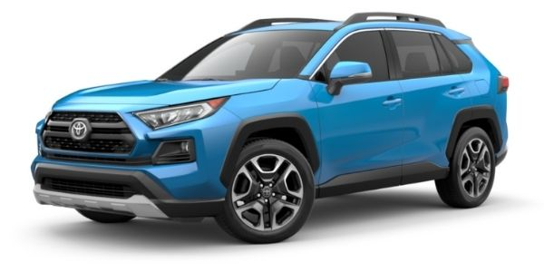 Blue Flame 2021 Toyota RAV4 on White Background