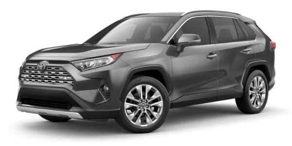 Magnetic Gray Metallic 2021 Toyota RAV4 on White Background