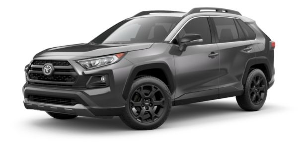 Magnetic Gray Metallic 2021 Toyota RAV4 with Ice Edge Roof on White Background