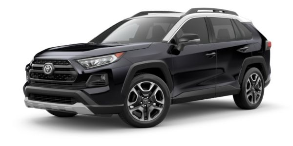 Midnight Black Metallic 2021 Toyota RAV4 with Ice Edge on White Background
