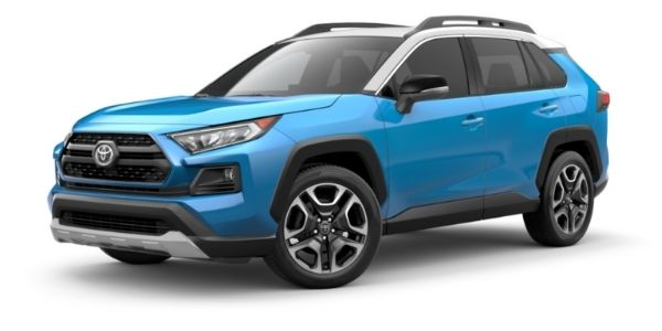 Blue Flame 2021 Toyota RAV4 with Ice Edge Roof on White Background
