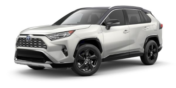 Blizzard Pearl 2021 Toyota RAV4 with Midnight Black Metallic Roof on White Background