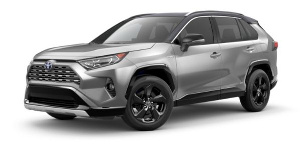 Silver Sky Metallic 2021 Toyota RAV4 with Midnight Black Metallic Roof on White Background