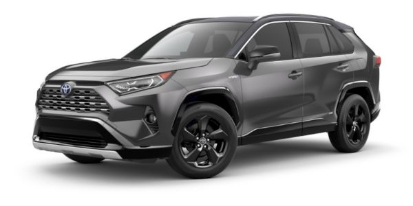 Magnetic Gray Metallic 2021 Toyota RAV4 with Midnight Black Metallic Roof on White Background