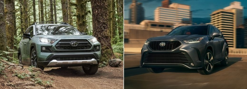 Blue 2021 Toyota RAV4 on a Trail vs Gray 2021 Toyota Highlander on a Freeway