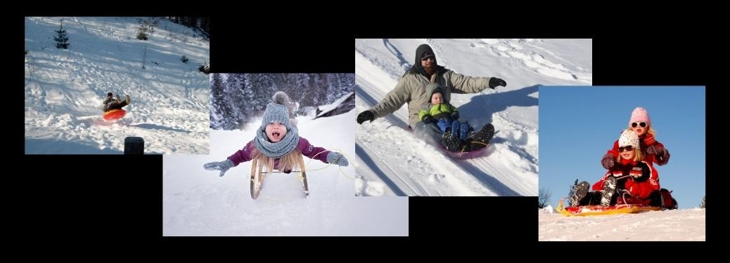 Collage of Kids and Families Sledding