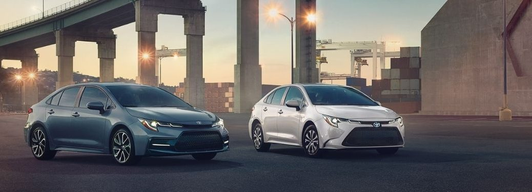 Blue and White 2021 Toyota Corolla Models by a Bridge