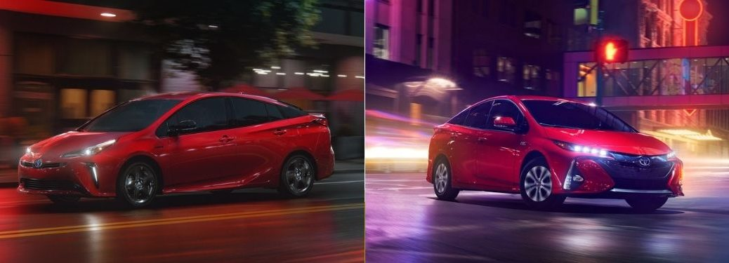Red 2021 Toyota Prius on a City Street at Night vs Red 2021 Toyota Prius Prime on a City Street at Night