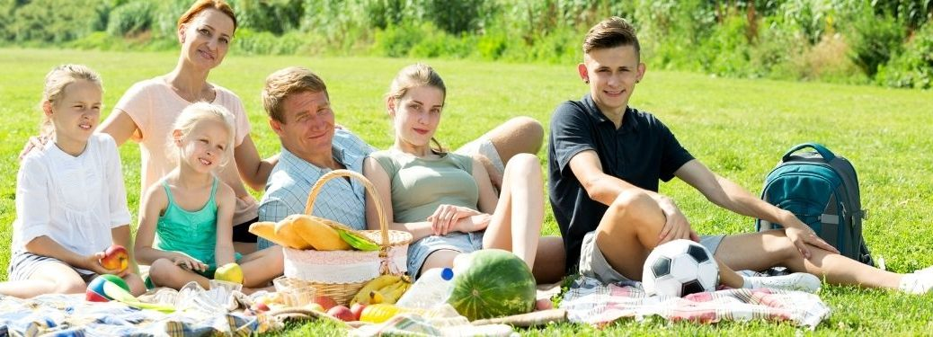 Family Together on a Picnic Blanket in the Grass