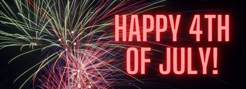 Fireworks in the Air and Red Happy 4th of July Text