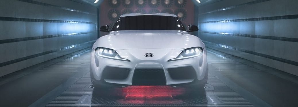 White 2022 Toyota GR Supra A91-CF Edition Front Exterior in a Wind Tunnel
