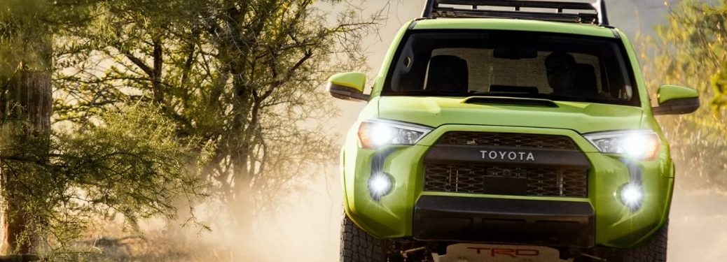 Green 2022 Toyota 4Runner TRD Pro on a Trail