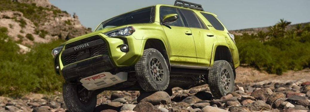 Lime Rush 2022 Toyota 4Runner TRD Pro on a Rocky Trail