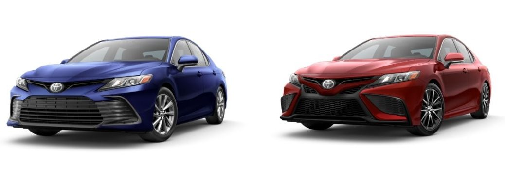 Blue 2021 Toyota Camry LE on White Background vs Red 2021 Toyota Camry SE on White Background