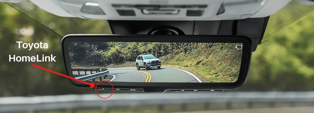 2021 Toyota RAV4 Digital Rearview Mirror with Red Arrow and Circle to Show Toyota HomeLink