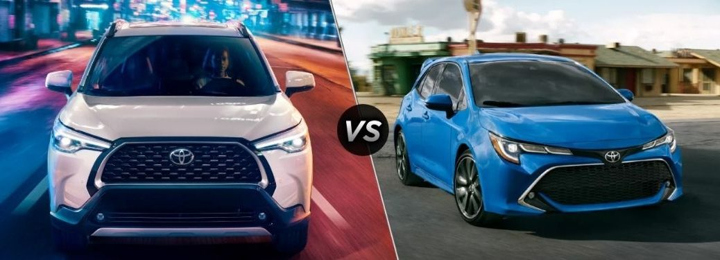 White 2022 Toyota Corolla Cross Front Exterior on a City Street at Night vs Blue 2022 Toyota Corolla Hatchback Front in a Parking Lot