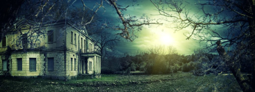 Scary house in the moonlight
