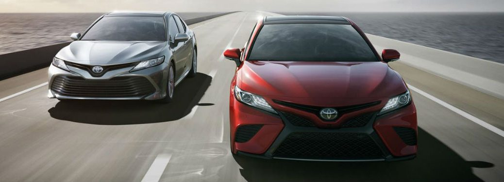 2019 Toyota Camry models in red and gray