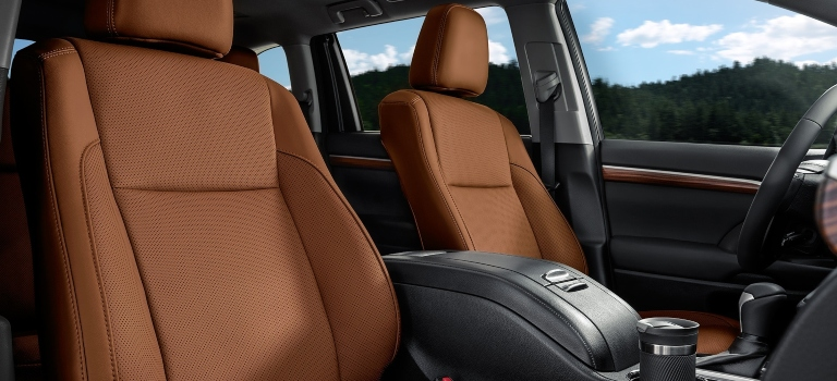 2019 Toyota Highlander Limited with front perforated brown leather seats