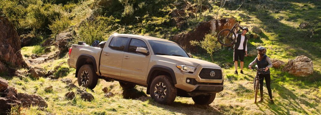 2019 Toyota Tacoma tan side view on a mountain