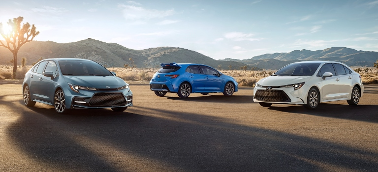 2020 Toyota Corolla models silver white and blue