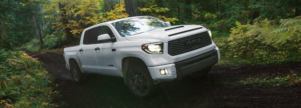 2020 Toyota Tundra white front and side view