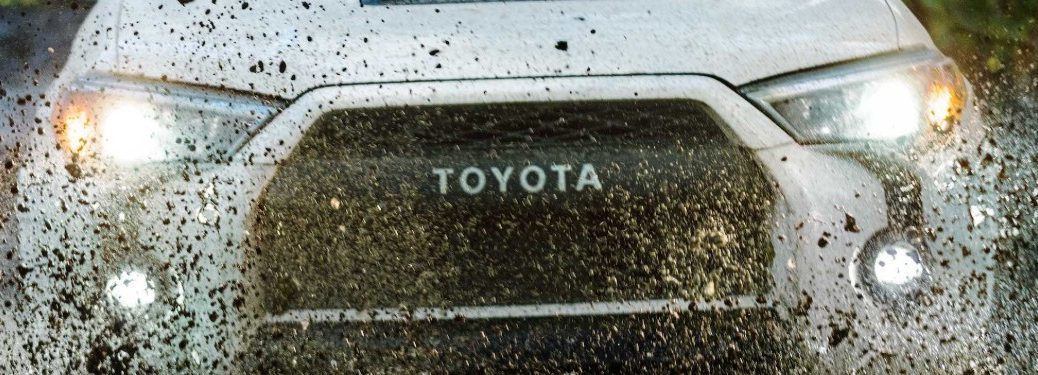 2020 Toyota 4Runner grille closeup with mud
