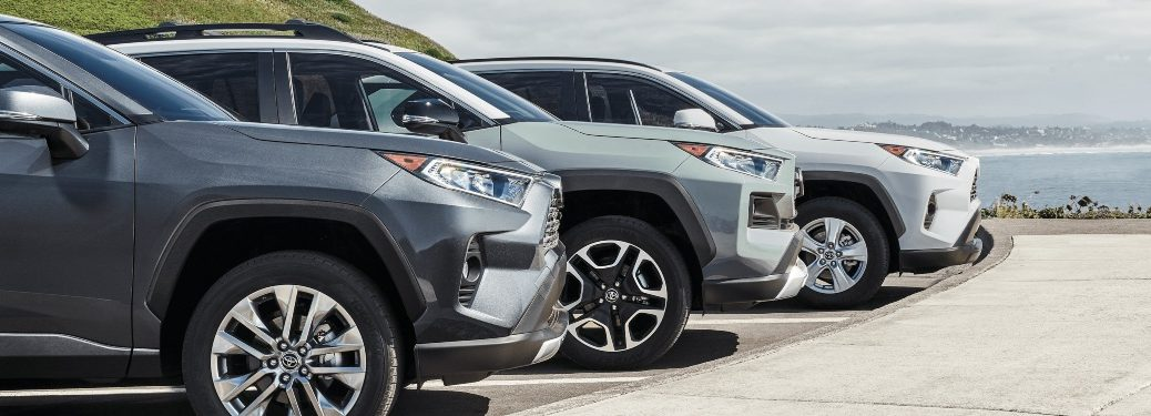2020 Toyota RAV4 in multiple colors at the beach