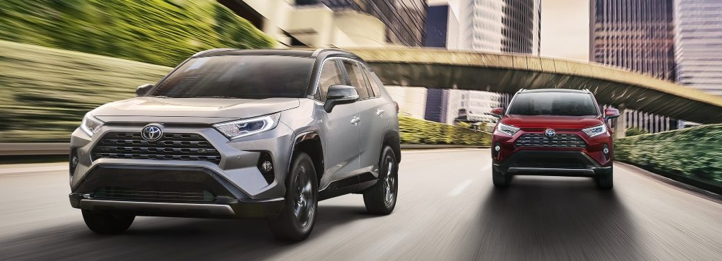 2020 Toyota RAV4 front view silver and red