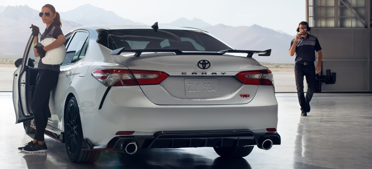 2020 Toyota Camry TRD white back view with spoiler