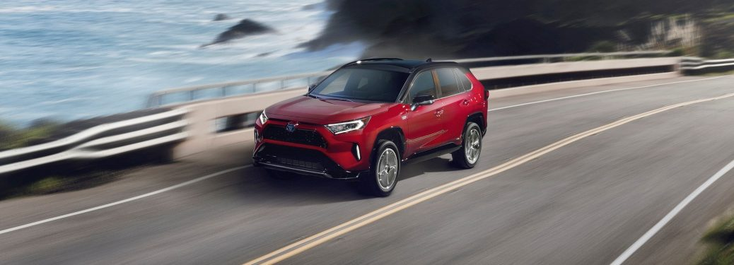 2021 Toyota RAV4 Prime red on the coast