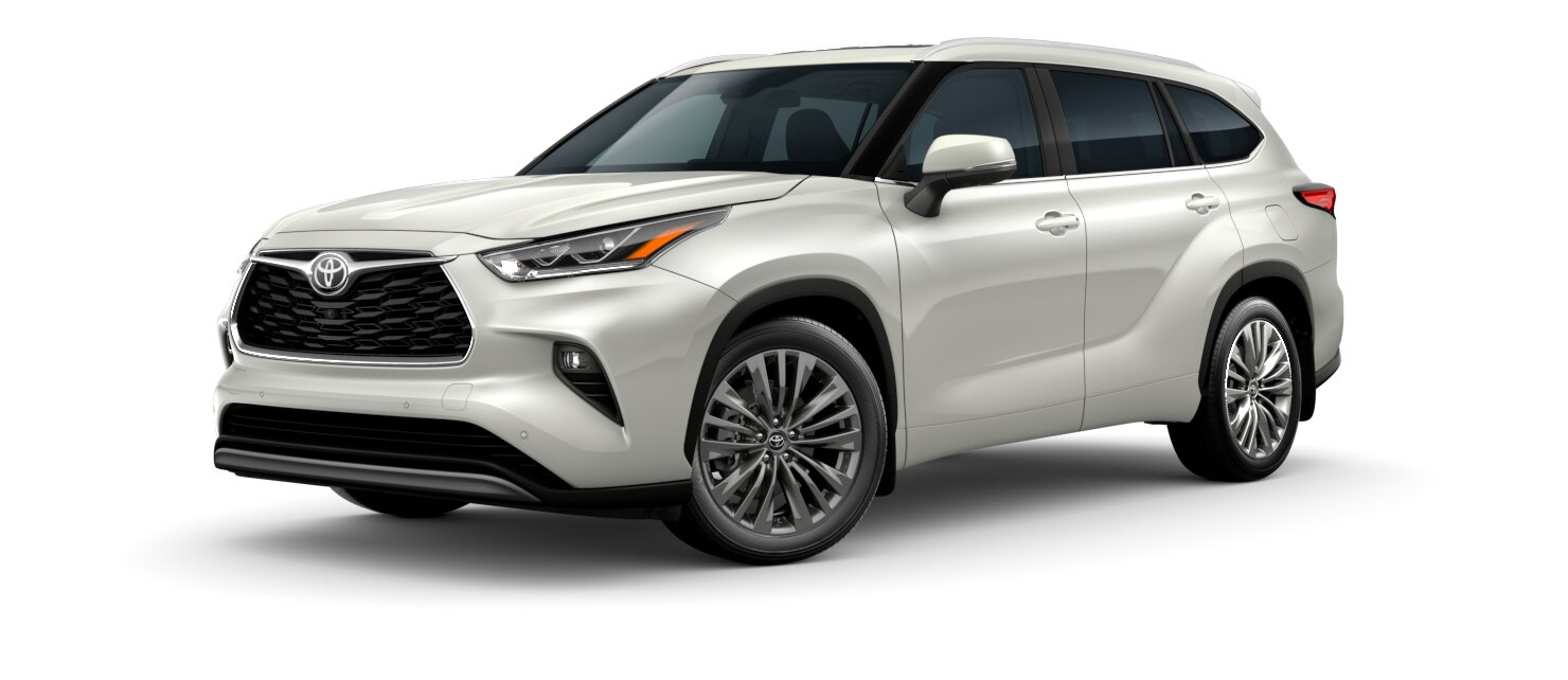 2020 Toyota Highlander Blizzard Pearl side view