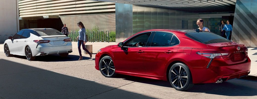 2020 Toyota Camry red back view