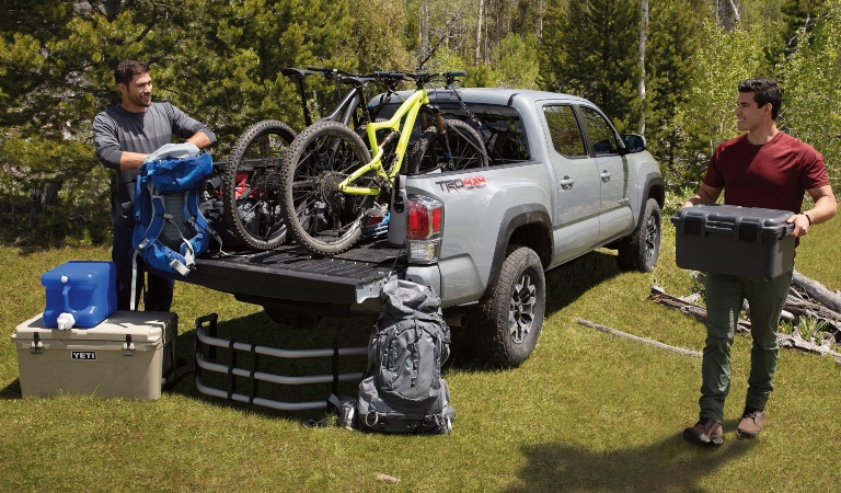 2020 Toyota Tacoma gray back view with bed loaded