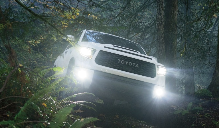 2020 Toyota Tundra white front view headlights on