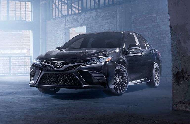 Exterior view of the front of a black 2020 Toyota Camry Nightshade