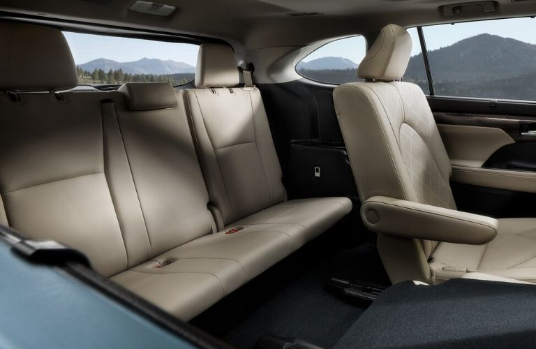 Interior view of the rear seating area available inside the 2020 Toyota Highlander