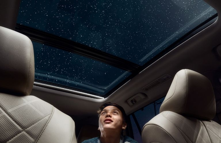 Interior view of the Panoramic Moonroof available inside the 2020 Toyota Highlander