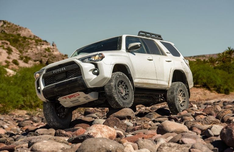 Exterior view of the front of a white 2020 Toyota 4Runner