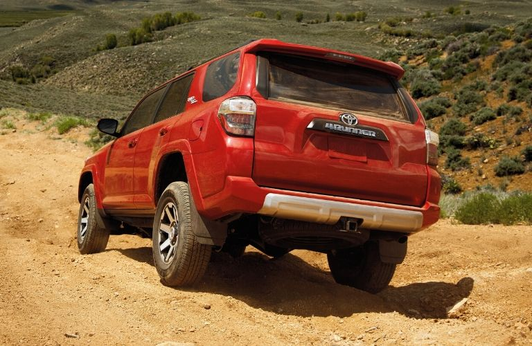 Exterior view of the rear of a red 2020 Toyota 4Runner
