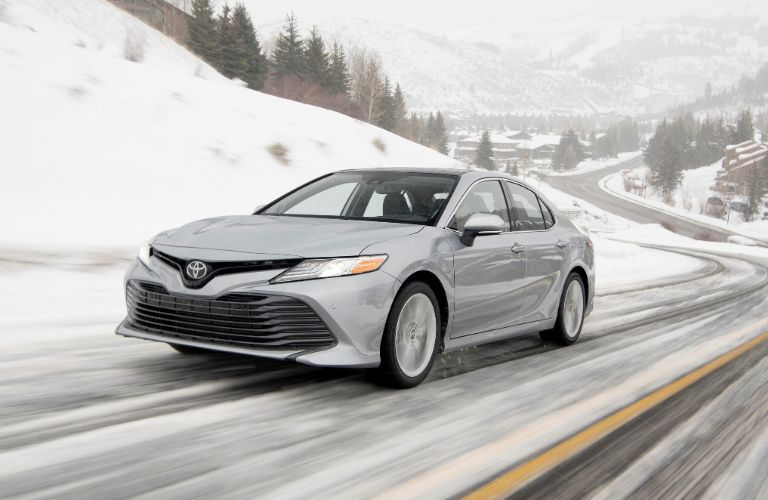Exterior view of the front of a silver 2020 Toyota Camry AWD