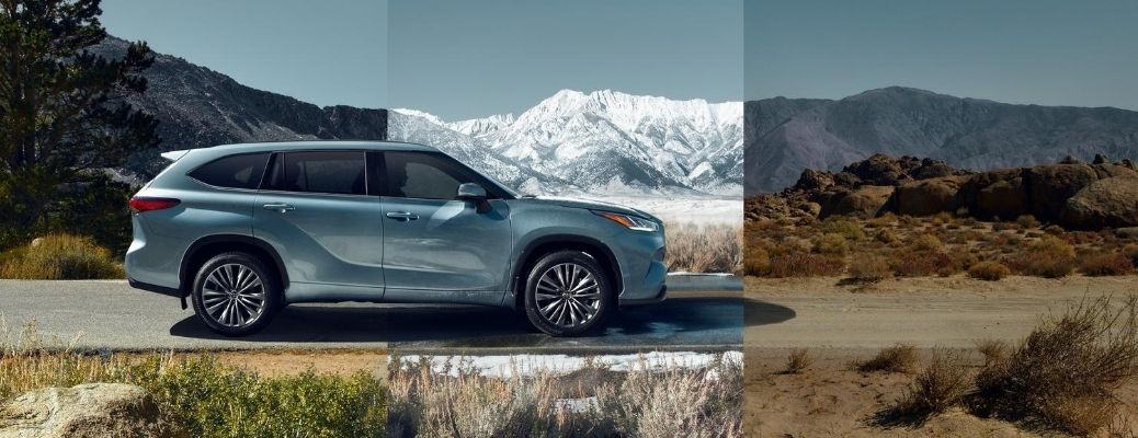 Exterior view of a blue 2020 Toyota Highlander driving through three road conditions