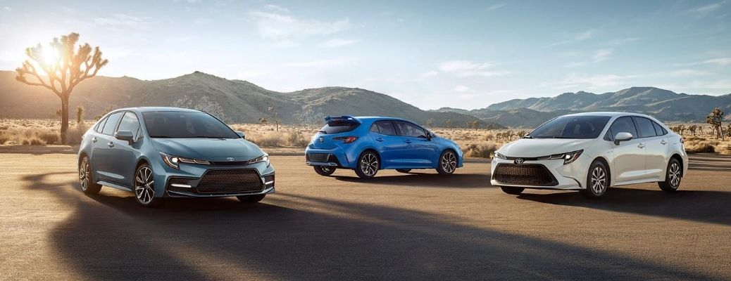 Exterior view of three 2021 Toyota Corolla models