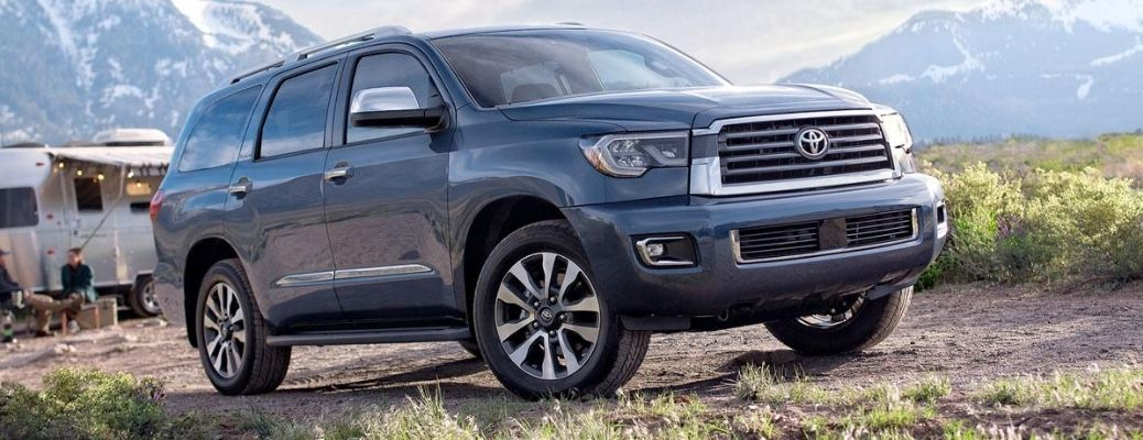 Exterior view of a gray 2020 Toyota Sequoia